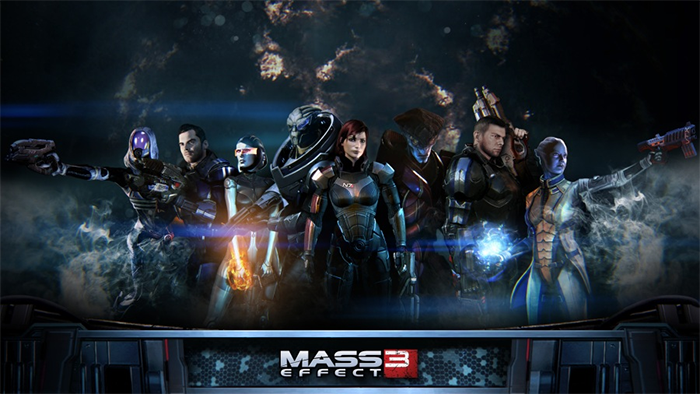 Shepard and possible companions in Mass Effect 3.