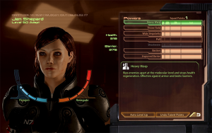 Shepard's character screen from Mass Effect 2, showing the separate Paragon and Renegade meters.