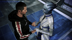 Shepard and Liara, a squad member in Mass Effect 1 and 3, sharing an intimate moment.