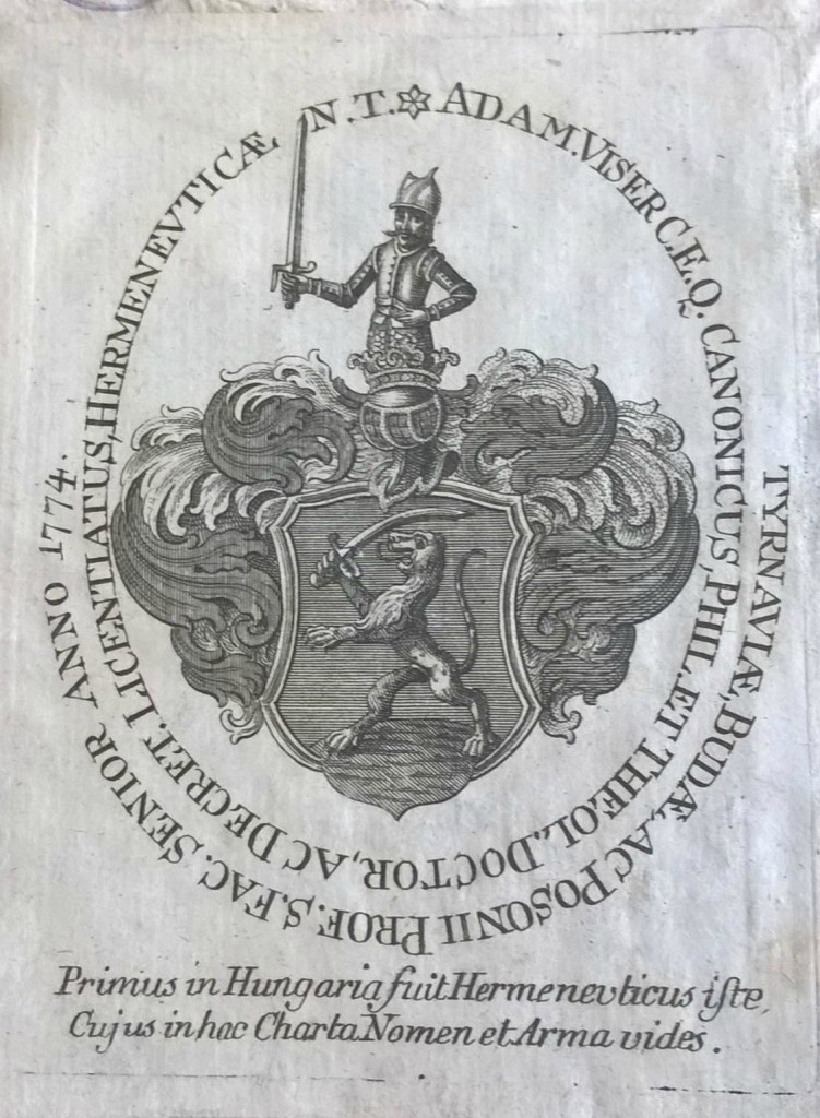 As a sneak peek of what is to come, here is one of our early finds, a bookplate with a beautifully detailed coat of arms. We would like to offer a surprise prize to the first commenter who can correctly identify which Hungarian family the coat of arms belongs to!