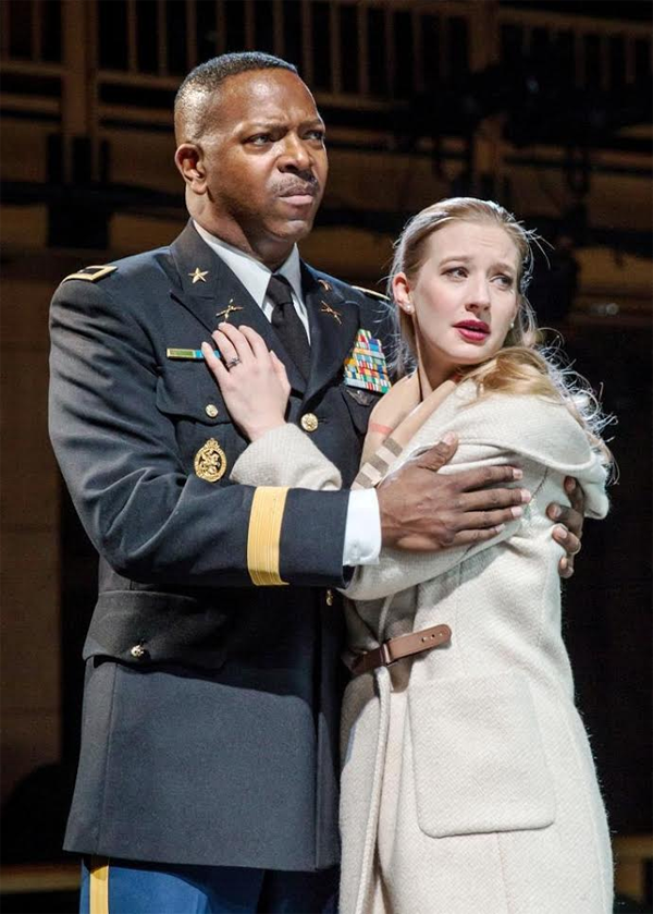 Othello (James Vincent Meredith) and Desdemona (Bethany Jillard).